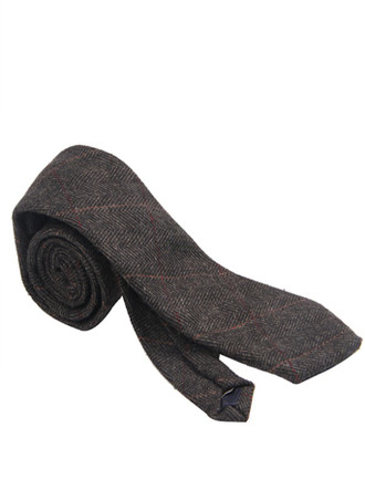 Tweed Neck Tie- Dark Grey Herringbone