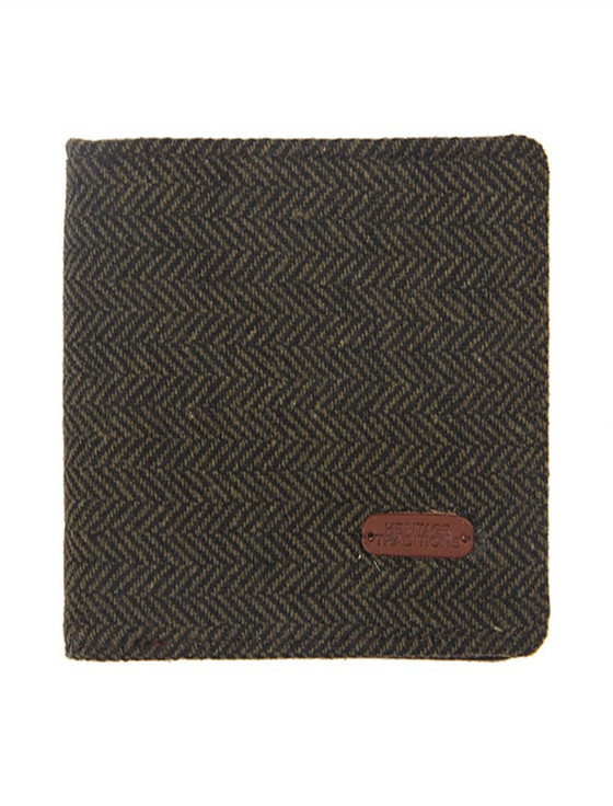 Tweed Wallet- Green Herringbone