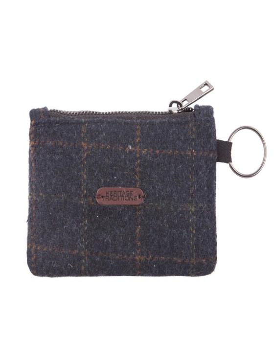 Tweed Coin Purse- Blue Box Check