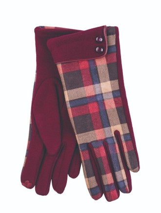 Ladies Tweed Button Cuff Gloves- Oxblood Check