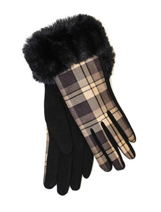 Ladies Faux Fur Trim Gloves- Black Box Check