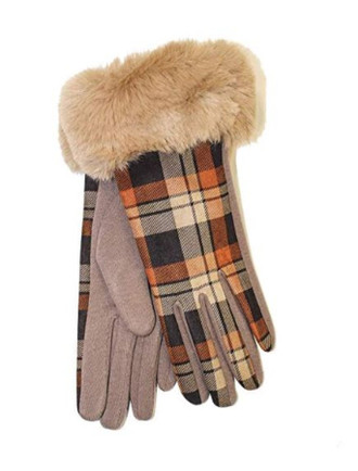 Ladies Faux Fur Trim Gloves- Camel Box Check