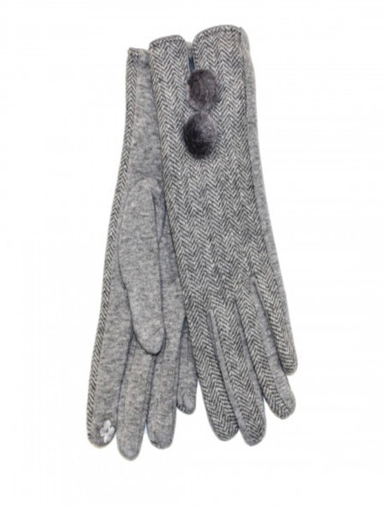 Ladies Double Pom Pom Gloves - Light Grey Herringbone