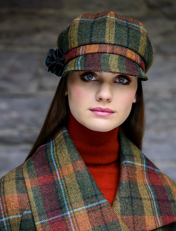 Ladies Tweed Newsboy Hat - Green Brown & Mustard