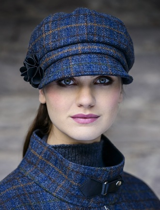 Ladies Tweed Newsboy Hat - Navy Green & Brown Plaid