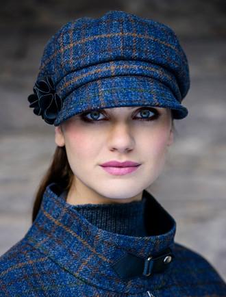 Ladies Tweed Newsboy Hat - Navy Green & Brown Plaid