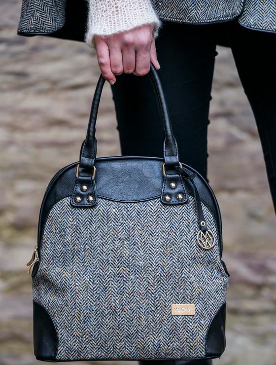 Abbie Tweed Bag - Grey Herringbone