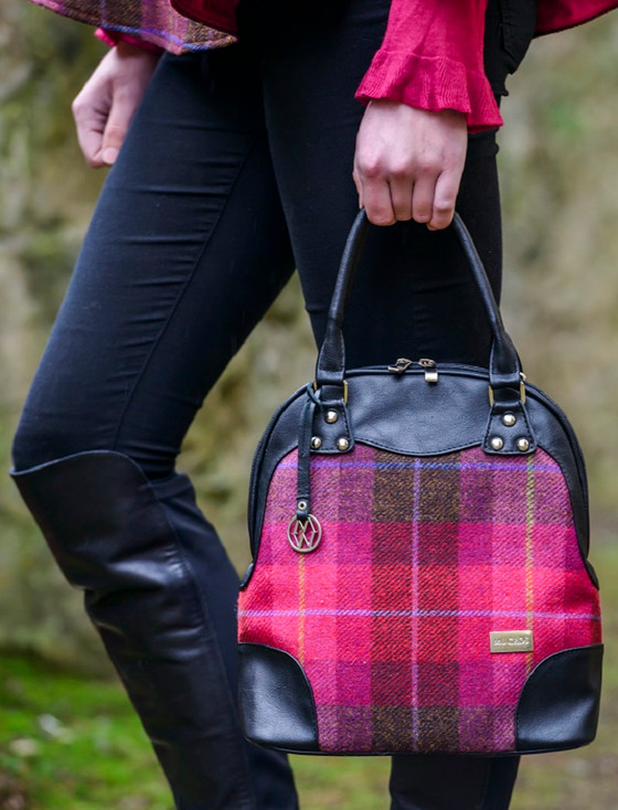 Abbie Tweed Bag - Pink Check