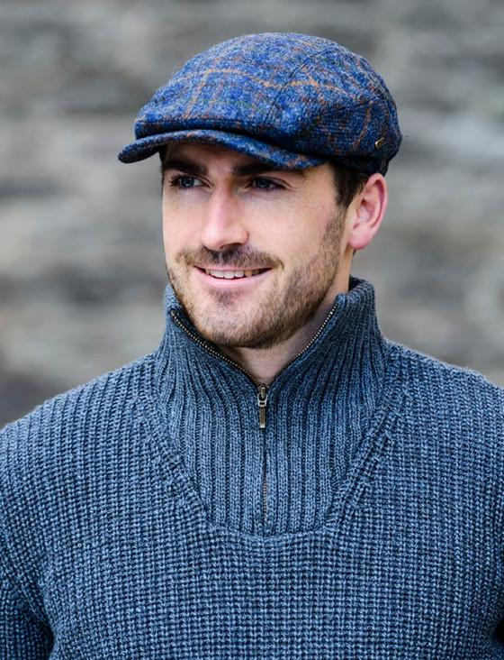 Kerry Tweed Flat Cap - Navy Green & Brown Check
