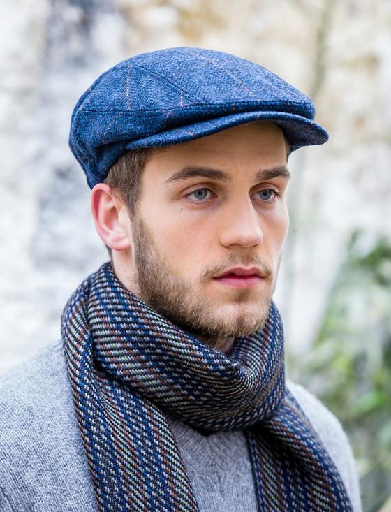 Kerry Tweed Flat Cap - Denim