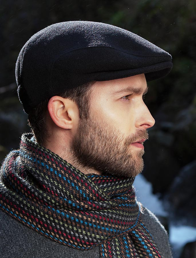 Mucros Black Wax Kerry Flat Cap Hat Made in Ireland