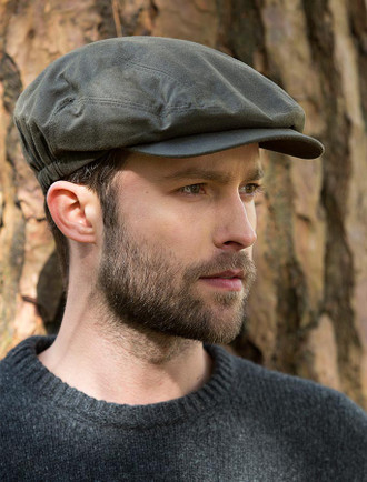 Kerry Wax Flat Cap - Olive