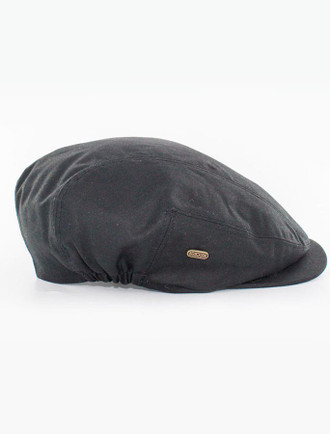 Kerry Wax Flat Cap - Black