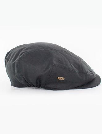 Kerry Wax Flat Cap - Black