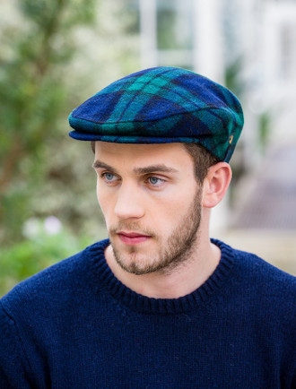 Trinity Tweed Flat Cap - Navy Green Plaid