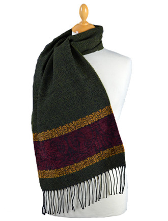 Celtic Birds Pattern Scarf - Olive
