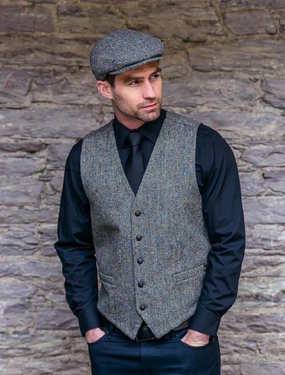 Irish Tweed Herringbone Waistcoat - Grey