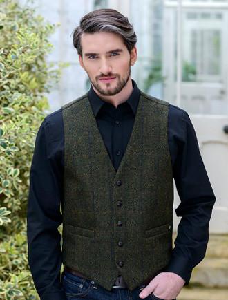 Tweed Waistcoat - Forest Green