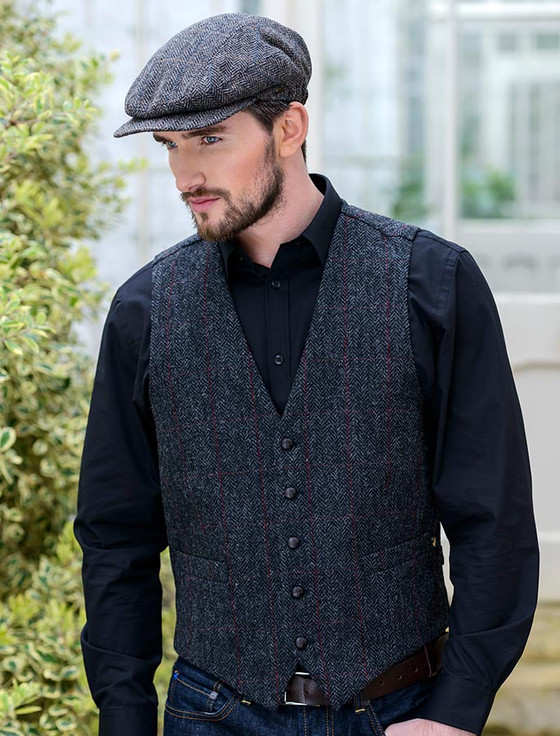 Tweed Waistcoat - Charcoal with Red