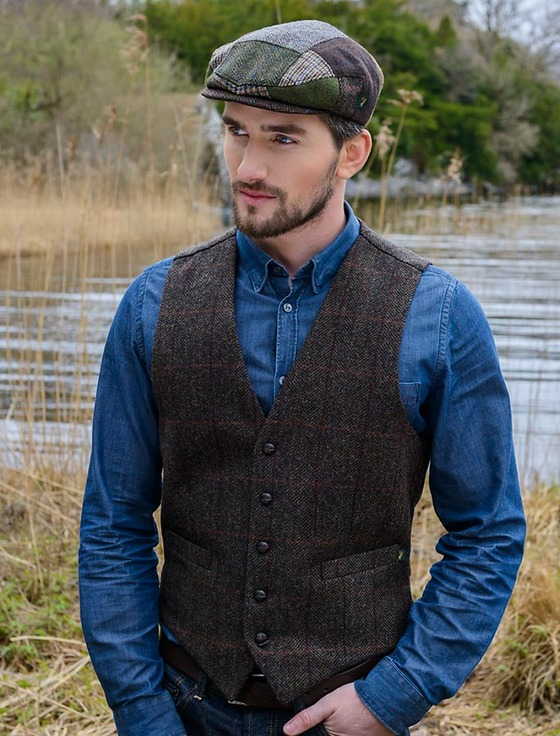 Irish Tweed Herringbone Waistcoat - Brown & Red