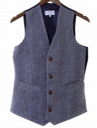 Men's Irish Tweed Navy Herringbone Waistcoat