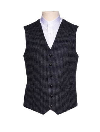 Black and Grey Night Check Tweed Waistcoat