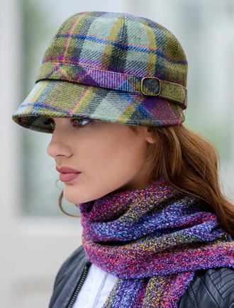 Ladies Tweed Flapper Cap - Multi Vernal Plaid
