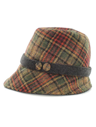 Ladies Tweed Clodagh Cap - Green Rust Plaid
