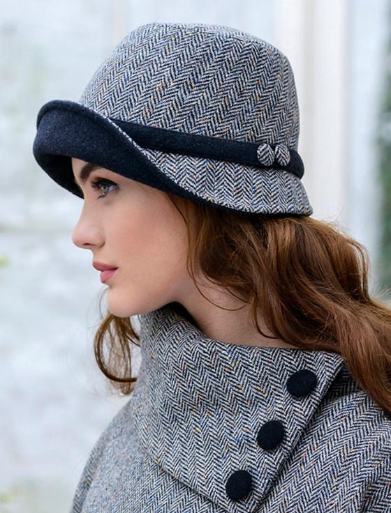 Ladies Tweed Clodagh Cap - Grey