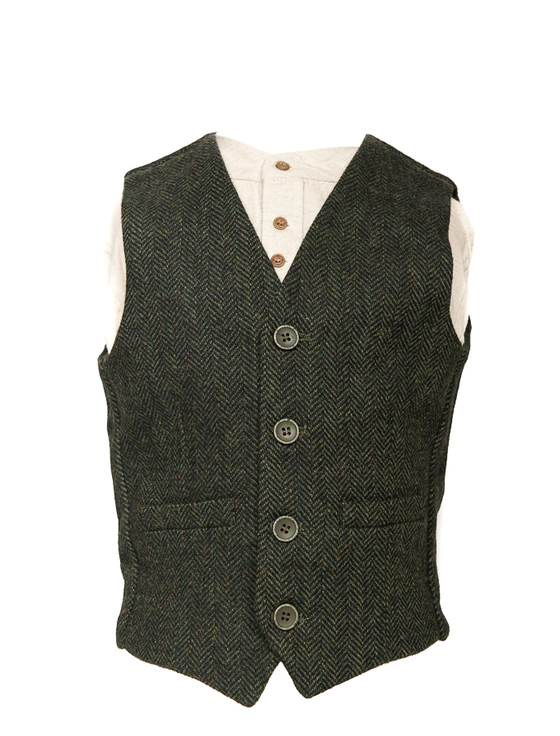 Boys Traditional Waistcoat - Green Herringbone