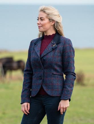 Saoirse Tweed Blazer – Navy Herringbone Check