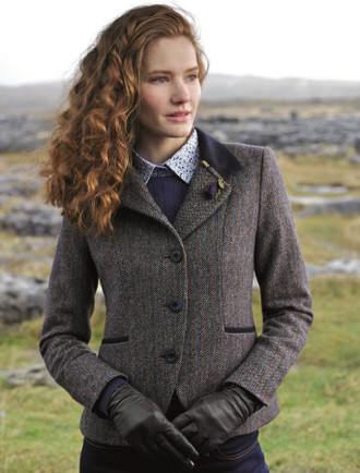 Saoirse Tweed Jacket – Blue Moon Herringbone