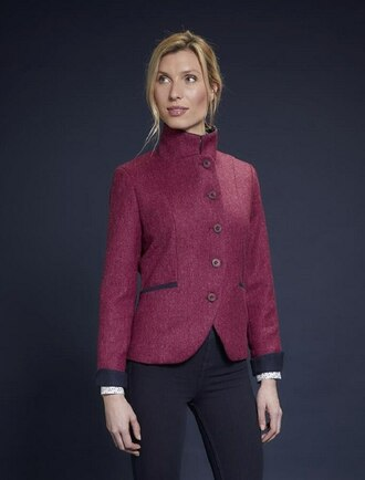 Saoirse Tweed Blazer – Winter Pink