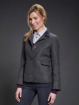 Donna Tweed Blazer – Navy Teal Herringbone