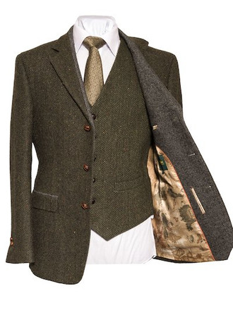 Casement Green Classic Fit Tweed Jacket