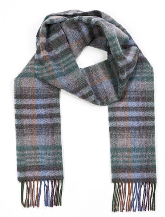 Narrow Lambswool Checked Scarf -Grey & Green Blue Plaid