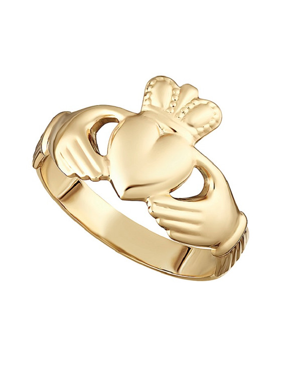 9k Gold Hallow Back Maids Claddagh Ring