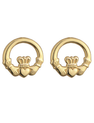 9K Gold Light Claddagh Stud Earrings