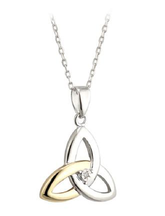 STERLING SILVER 10K GOLD & DIAMOND TRINITY KNOT PENDANT