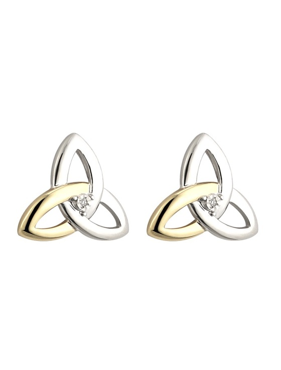 10K GOLD & DIAMOND SILVER TRINITY KNOT STUD EARRINGS