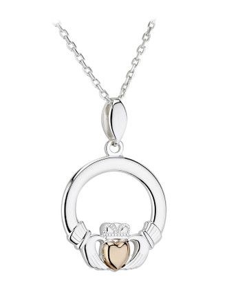 10k Gold & Sterling Silver Claddagh Pendant