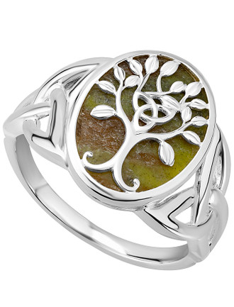 SILVER CONNEMARA MARBLE TREE OF LIFE RING