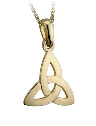 9k Gold Celtic Trinity Knot Irish Pendant Necklace