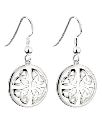 Sterling Silver Round Trinity Knot Drop Earrings