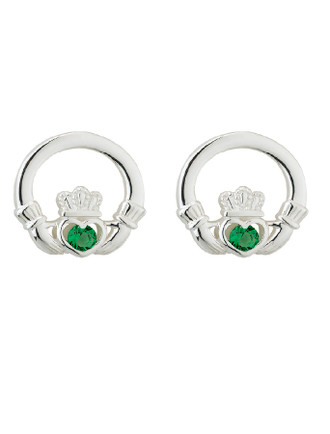 Sterling Silver Green Crystal Claddagh Stud Earrings