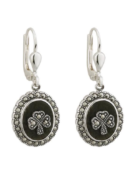 Marcasite Shamrock Connemara Marble Earrings