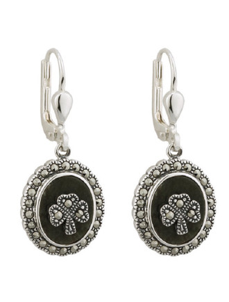 Marcasite Shamrock Connemara Marble Earrings