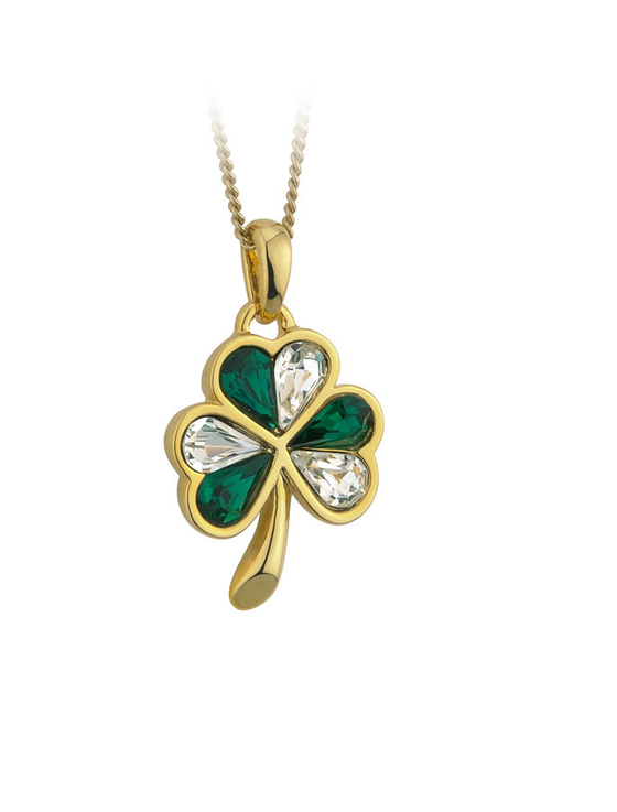 GOLD PLATED GREEN & WHITE CRYSTAL SHAMROCK PENDANT