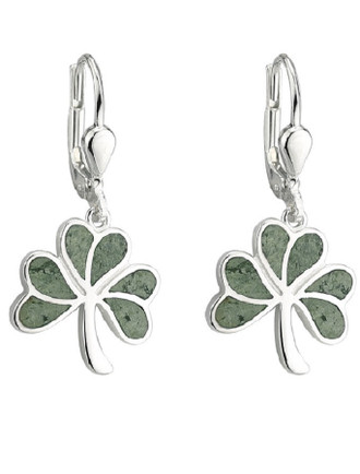 Connemara Marble Shamrock Drop Earrings