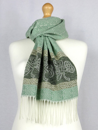 Celtic Border Pattern Scarf -Shamrock Mint